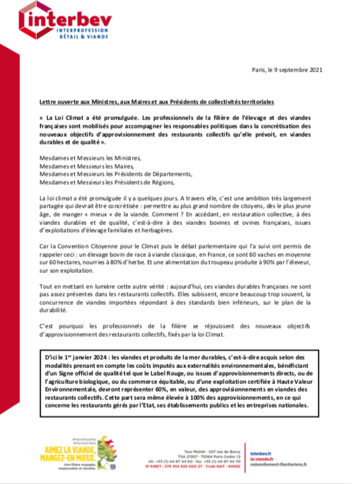 Loi Climat & Restauration Collective: lettre ouverte de Dominique Langlois, Président d'Interbev